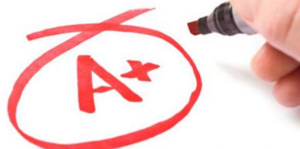 A+ written on whiteboard