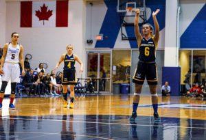 Female basketball player taking free throw