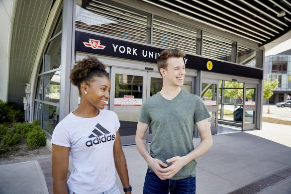 Students standing in front of York Subway Station